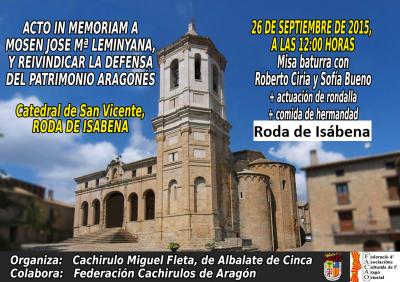 Acto In Memoriam de José M.ª Leminyana y en Defensa del Patrimonio Aragonés en Roda de Isábena (Huesca)